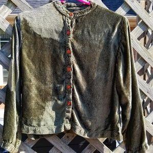 Sacred Threads Boho Velvet Green Jacket
